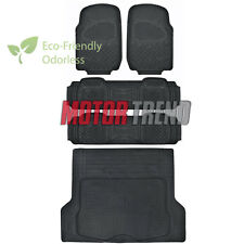 Heavy Duty All Weather 5pc Black Rubber Floor Mats Set w/ Liner MOTORTREND