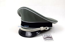 WWII German Elite Whipcord Officer Hat Cap W White Chin Pipe Silver Cord W badge