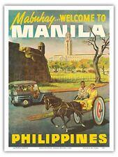 Manila Philippines 1950s Vintage World Travel Poster Print