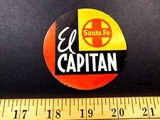 1940s Santa Fe El Capitan Luggage Label Sticker Vintage Original