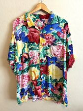 Jam's World Men's XXL Flower Patch Floral Button Shirt Colorful Retro Hawaiian