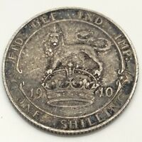 1910 Britain UK United Kingdom One 1 Shilling Circulated British Coin D698