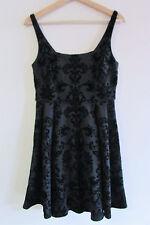 Forever New Sz 10 Black Flocked Velvet Fleur Di Lis Scuba Dress Fit Flare Skater