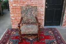 French Antique Oak Louis XIV Upholstered Accent Armchair Living Room Furniture