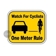 American spelling Bike safety sticker watch for cyclists one meter rule 100 mm