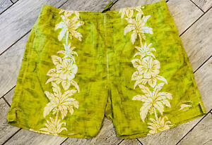 Tommy Bahama Relax Mens 3XT Swim Trunks Green Hawaiian Print Drawstring Waist