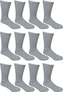 New 12 Pairs Mens Grey Solid Sports Crew Work Socks Cotton USA Long Size 10-13