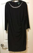 Ralph Lauren Womans Plus Size 18W Black Dress With Rhinestones