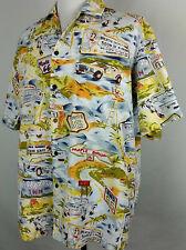 VTG PACIFIC LEGEND Mens ALOHA HAWAIIAN Shirt Sz XL Yellow USA Road Trip ROUTE 66