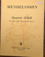 Mendelssohn: Quartet d-minor Violin, Viola, Cello and Piano Sheet Music Book