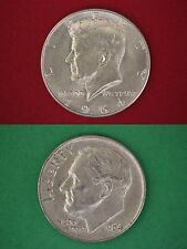MAKE OFFER $1.00 Face Value 90% Silver Coins 1964 Kennedy Halves Roosevelt Dimes