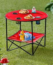 💢Folding Picnic Table With Shelf outdoors tabletop 4 four cup holders.