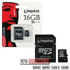 Scheda memoria Kingston 16 GB micro SD HC SDHC SDC10/16GB CLASSE 10 + Adattatore