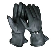 CHURCHILL GAUNTLET DEERSKIN INSULATED BLACK LEATHER SIZE XS GLOVES U.S.A. MADE
