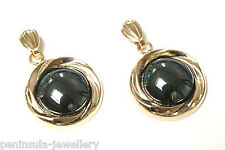 9ct Gold Hematite drop Earrings Made in UK Gift Boxed