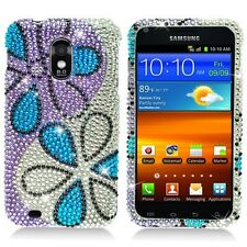For Samsung Epic 4G Touch Crystal BLING Case Phone Cover Silver Purple Flowers
