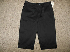 New Tag! White Stag Womans Size 8 Black Belted Dressy Capris Crop Pants Stretch