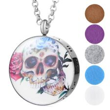 Stainless Steel Perfume Essential Oil Diffuser Locket Necklace Pendant Skull