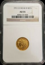 1911-D $2.50 Indian Head Gold Coin Quarter Eagle (Weak D) NGC AU 55