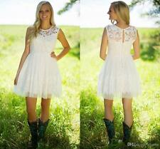 New Short Mini White Ivory Country Lace Wedding Dress Bridal Gown Custom Size