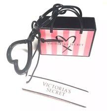 Victoria's Secret Shopper Charm Bag Pink Stripe Keychain Key Fob Mini Metal Tote