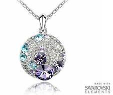Realizzata con elementi Swarovski viola, blu e chiaro Rotondo Ciondolo E COLLANA