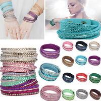 Mujer Muñequera Cristal  brazalete Cuero pulsera Bracelet Bangle