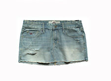NEW HOLLISTER WOMEN JUNIOR BLUE DENIM STRIPED DISTRESSED MINI SHORT SKIRT 7 W28