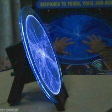 "Blue 12"" Disk Plate Tesla Plasma Holiday Party Lightning Lamp Light Sound Sensor"