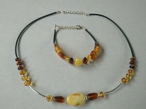 Baltic Sea Amber Necklace And Bracelet Handmade Unique FREE SHIPPING No3