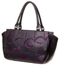 BANNED Goth Bats Faux Leather Handbag Shoulder Bag Gothic Vampire Black PURPLE