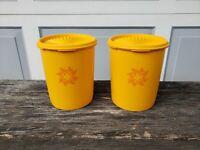 "Vintage Tupperware Kitchen Canisters Orange & Pink 7"" MCM / Retro"
