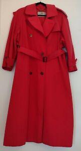 Ladies Aquascutum Red Trench Coat Size UK 8 Aqua 5 Mac Jacket Long Belted