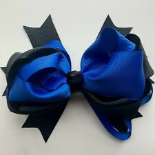 1 Pair Of Navy Blue /& White Ribbon Loopy School Bows On Clips Bonnie Lass Bows