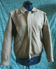 Womens VINTAGE 1980s Leather Bomber Jacket Medium grey/brown/khaki 80s hipster
