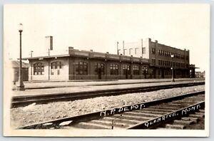Glendive MT Northern Pacific Railroad Depot From Across Railroad Trax 1920s RPPC