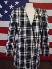 Worthington Blazer Jacket Plaid Multi Colored Women's Size 12