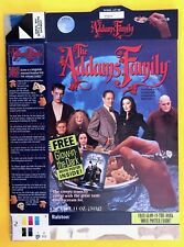 RALSTON~ADDAMS FAMILY cereal~empty box~*WITH* GLOW-IN-THE-DARK POSTER promo~1991