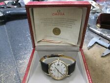 OMEGA AUTOMATIC SEAMASTER DEVILLE 14K GOLD RUNNING WRIST WATCH W BOX & PAPER