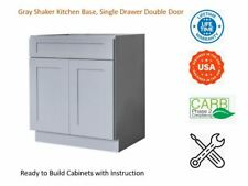 Gray Shaker Kitchen Base Cabinet, Single Drawer & Double Door