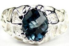LONDON BLUE TOPAZ Sterling Silver Men's Ring, Handmade • SR168