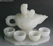 """9"""" Rare China White Jade Dragon Loong pixiu Beast Wine Tea Pot Teapot Flagon Set"""