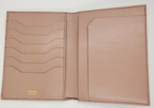 TOM FORD Bifold CARD HOLDER WALLET Pink/Biege Pebbled Leather ITALY NWOT.