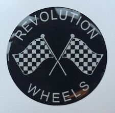 40MM REVOLUTION WHEELS WHEEL CAP CROSSED CHEQUERED FLAG RESIN DOME MINI - FORD