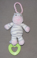 Carters Zebra Stuffed Plush Baby Ring Link Toy Teether Jingle Bell Chime Rattle
