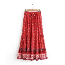 Boho Maxi Skirt Size 12 14 L Cotton Floral Gypsy Summer Beach Bohemian Modest