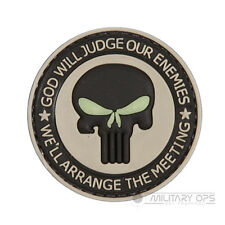 VINYL MORALE PATCH VELCRO PANEL RUBBER GOD WILL JUDGE OUR ENEMIES GLOW  COYOTE