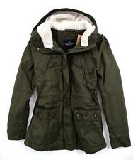 NWT American Eagle Women Hooded Sherpa Cotton Parka Coat Green Olive  XS M L NEW