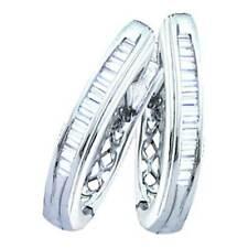 Ladies White Gold Baguette Cut Genuine Diamond Hoop Earrings 0.25CT