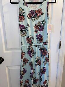 WOMEN'S LULAROE TANK DRESS-SUMMER-POLY SPANDEX-MINT FLORAL SIZE XS Small NWT